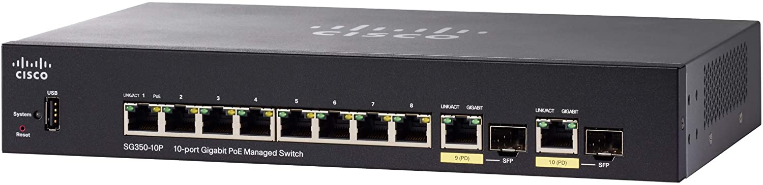 Cisco SG350-10P Managed Switch with 10 Gigabit Ethernet (GbE) Ports with 8 Gigabit Ethernet RJ45 Ports and 2 Gigabit Ethernet Combo SFP plus 62W PoE, Limited Lifetime Protection (SG350-10P-K9-NA)