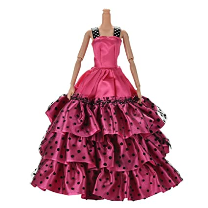 coscosx Vestido de novia para Barbies Muñeca hermoso arreglo Falda Vestido De Lunares rosa (b
