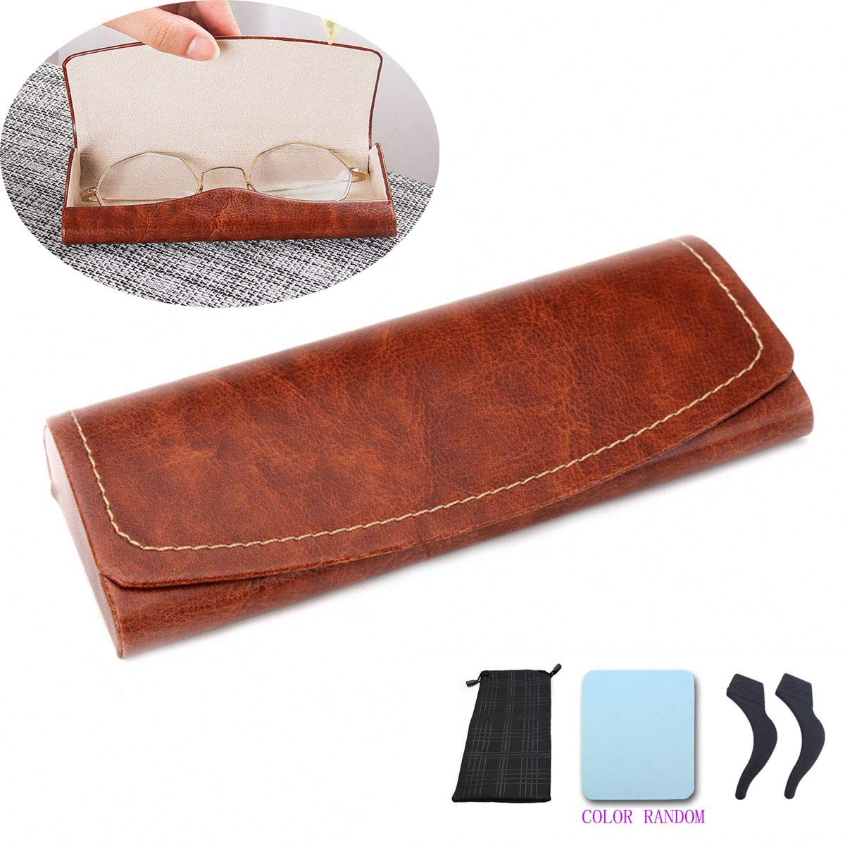 PU Leather Hard Shell Eyeglass Case Portable Sunglasses Glasses Holder Pouch (Brown)