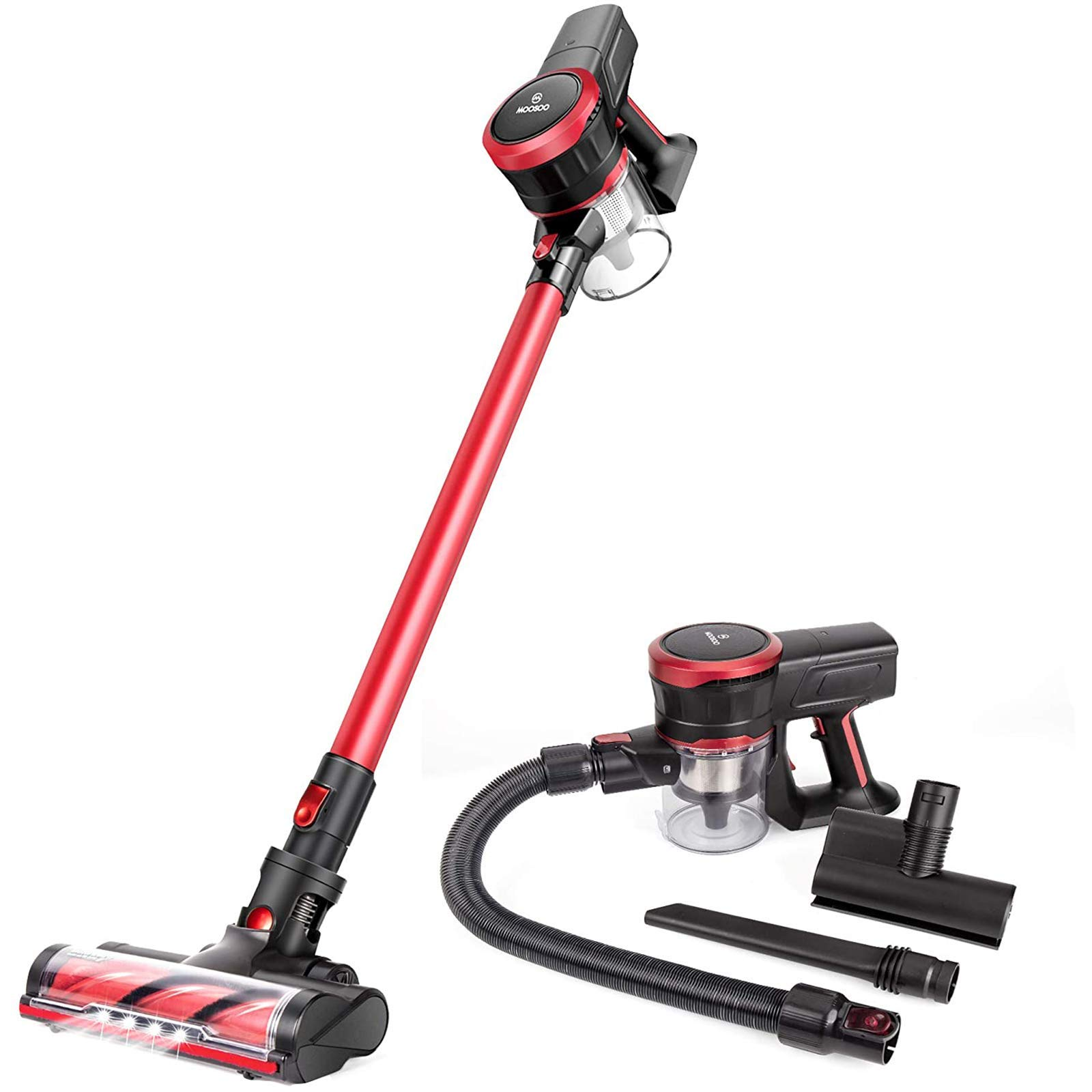 MOOSOO Cordless Vacuum Cleaner 23Kpa Strong Suction 2 in 1 Stick Vacuum Ultra-Quiet Handheld Vacuum with Brushless Motor Multi-attachments (Model: K17)