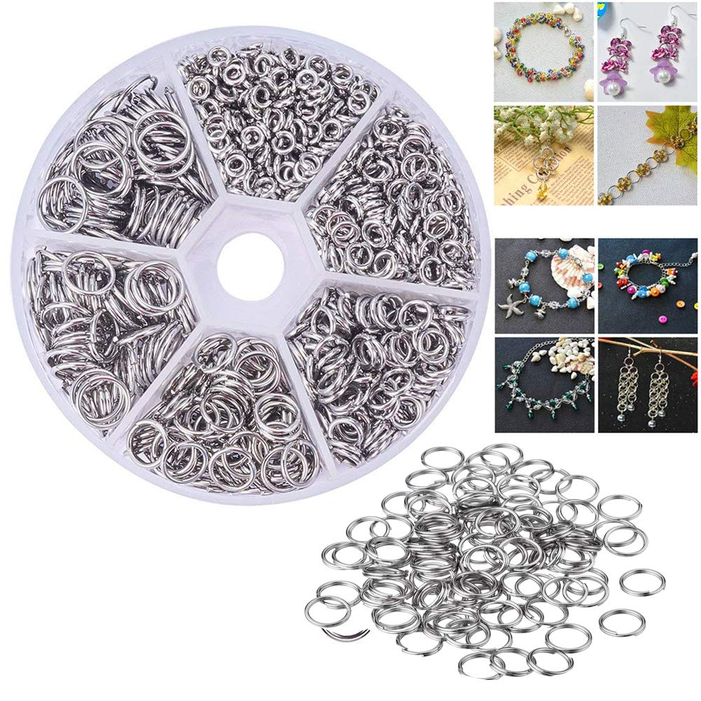 600 Pcs 304 Stainless Steel Double Layer Jump Rings 5//6//7//8//10//14mm Diameter Split Rings with One Plastic Box for for Keychain DIY Jewelry Accessories Velidy Open Jump Rings