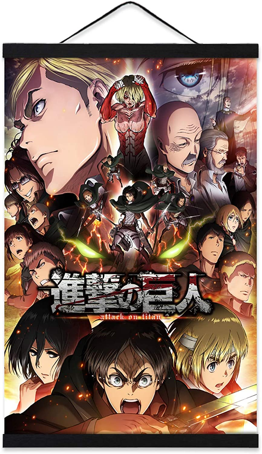 YIU Attack On Titan Wall Scroll 16x24in Poster Shingeki No Kyojin Anime Pictures for Bedroom Decor with Wooden Magnet Hanger