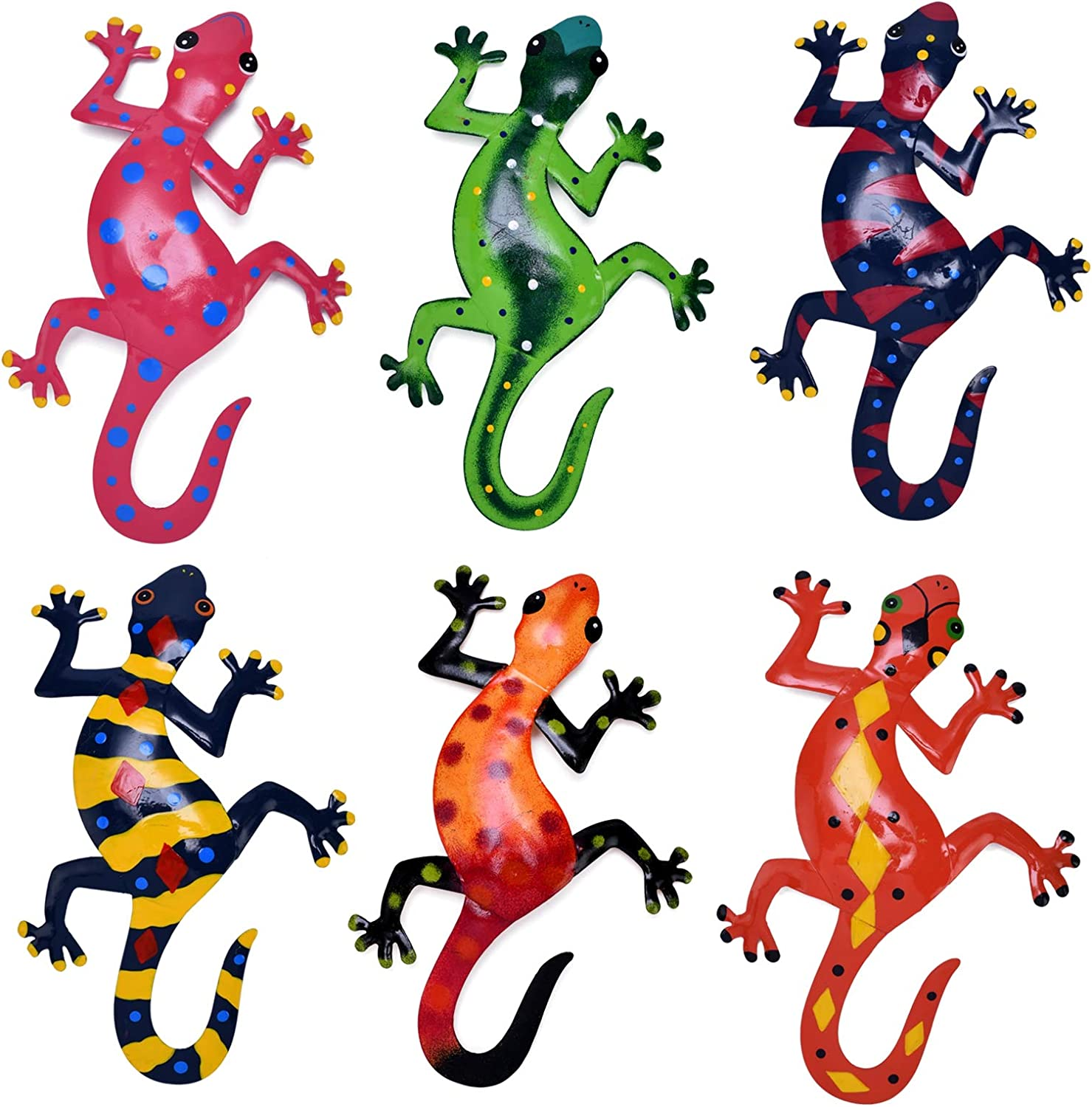 HOGARDECK Metal Gecko Wall Decor - Lizard Art Wall Decorations for Yard, Fence, Garden, Home, Outdoor and Indoor Wall Sculptures, Set of 6, Handmade Gift for Kids
