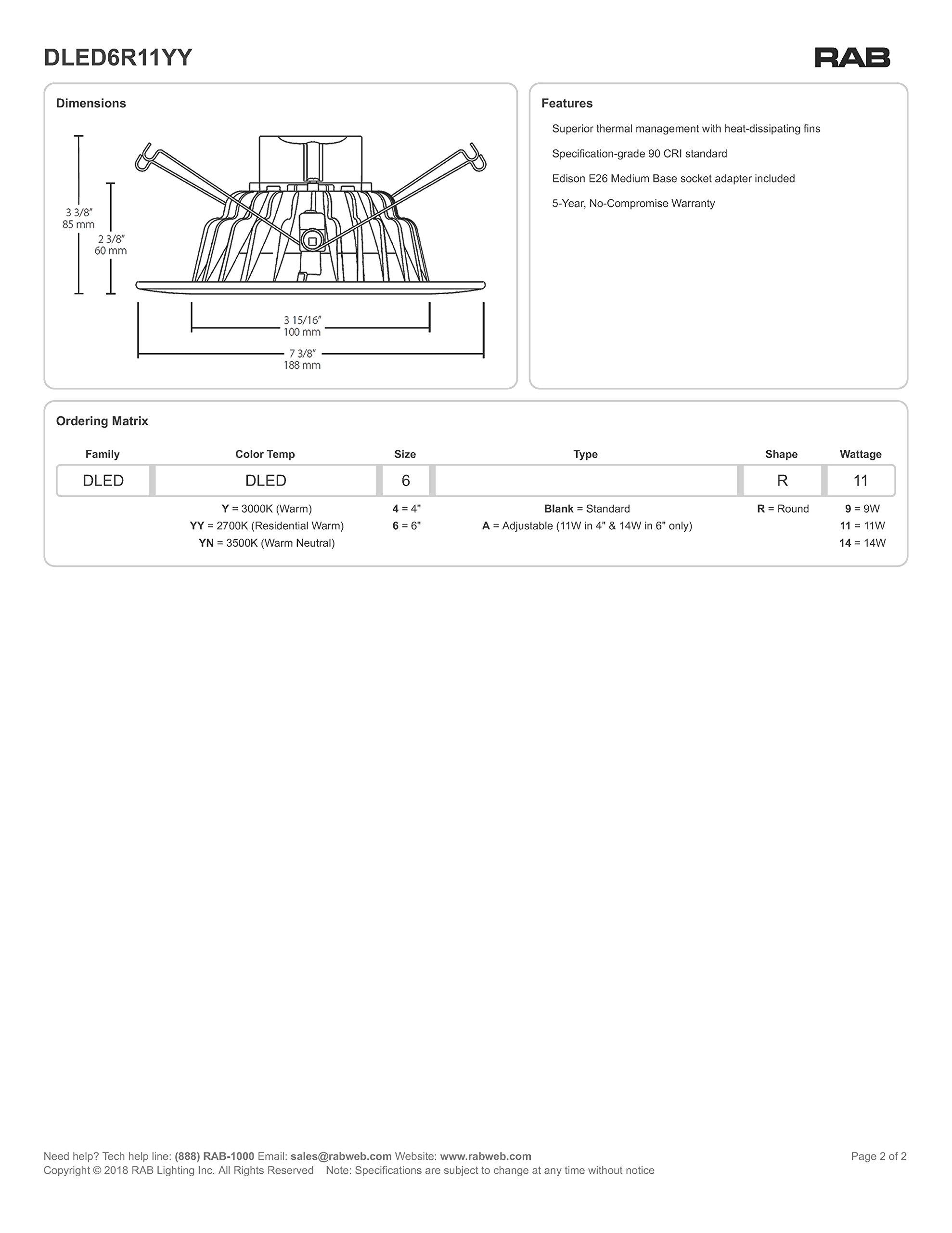 "6"" - 1Pk Can LED Lights & Recessed Retrofit Spotlights | 2700K Warm White Lighting - Dimmable | 11W | 120V | 842 Lumens | 60Hz | Easy Installation Light Fixture Trim Rings"