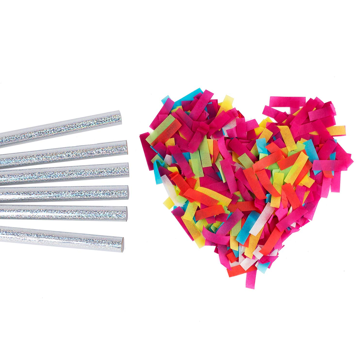 Battife Confetti Wands 7Pack Colorful Biodegradable Tissue Paper Confetti Flick Flutter Sticks for Wedding Celebrations, Anniversary, Birthday, Multi-Color, 14 inch