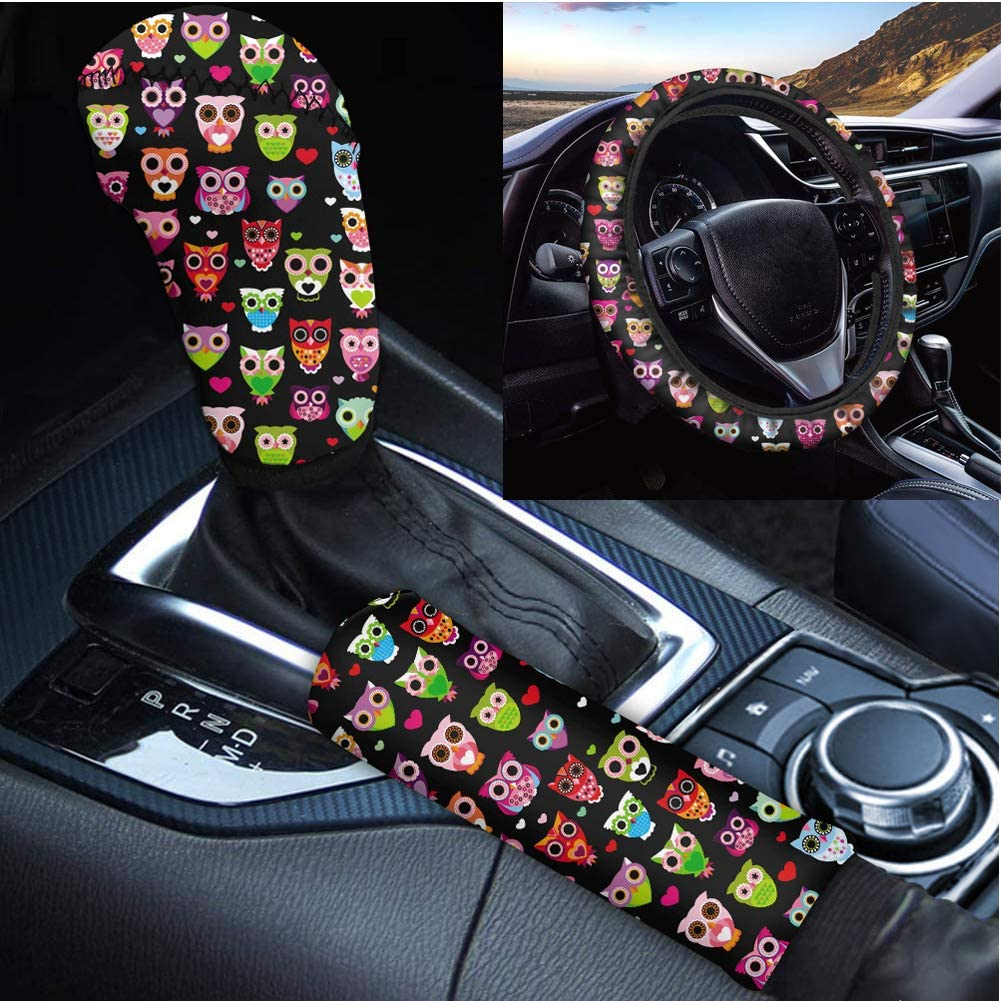 Showudesigns Lepord Print Car Accessories Set with Hand Brake Cover and Gear Shift Cover and Cheetah Steering Wheel Covers for Women Car Interior Decoration