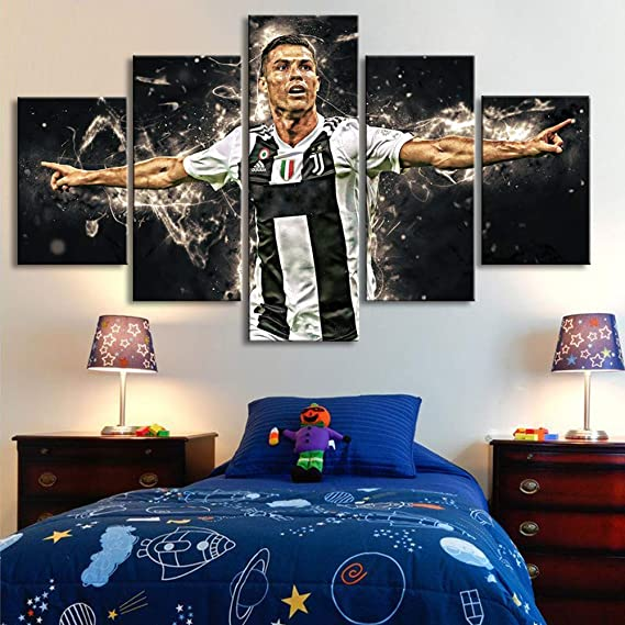 Football Superstar Cristiano Ronaldo Sports Poster 7 Canvas Poster Bedroom Decor Sports Landscape Office Room Decor Gift 12/×18inch Frame-style1 30/×45cm