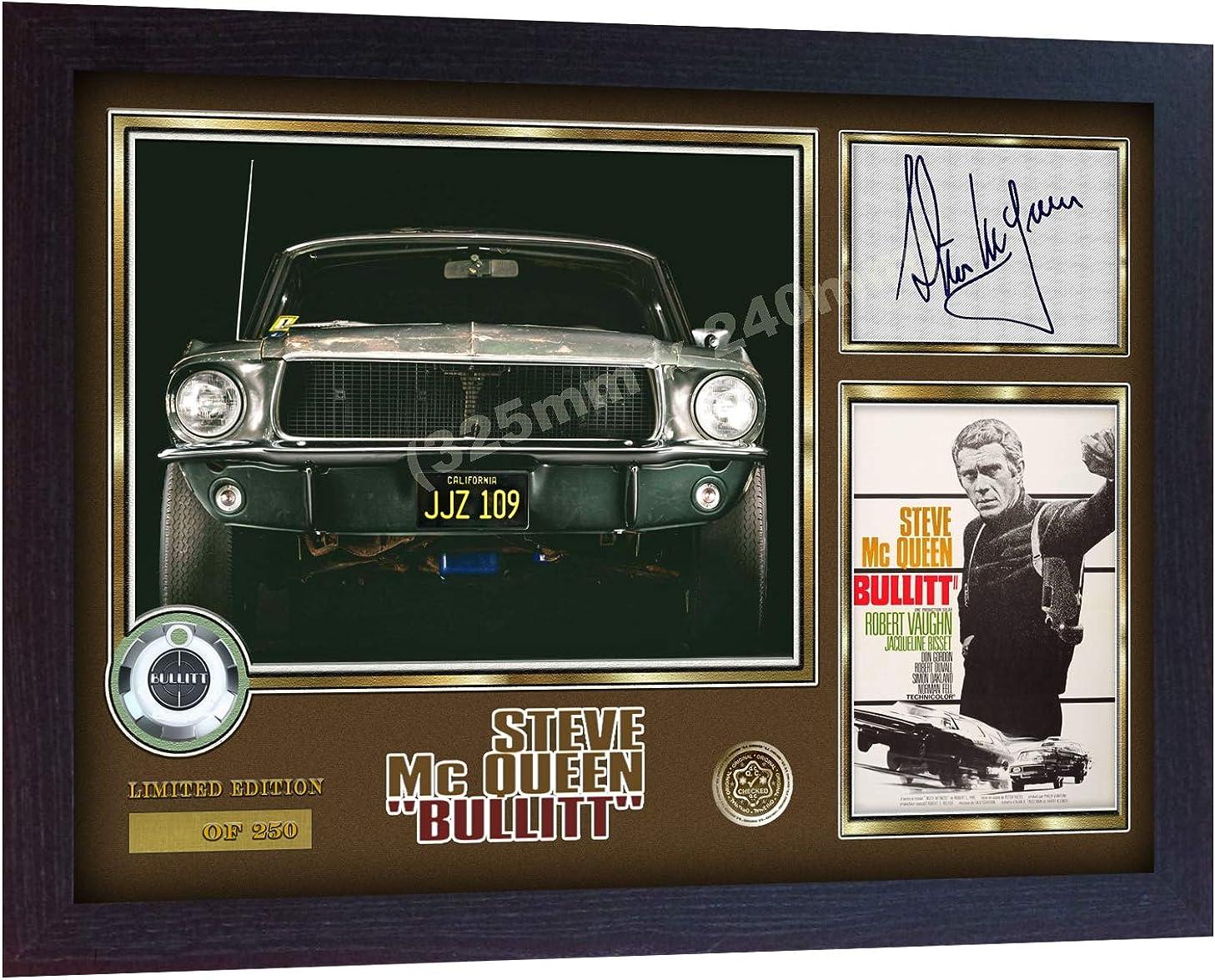 S&E DESING Steve McQueen Bullitt Signed Autographed Photo Print Poster Film DVD Framed