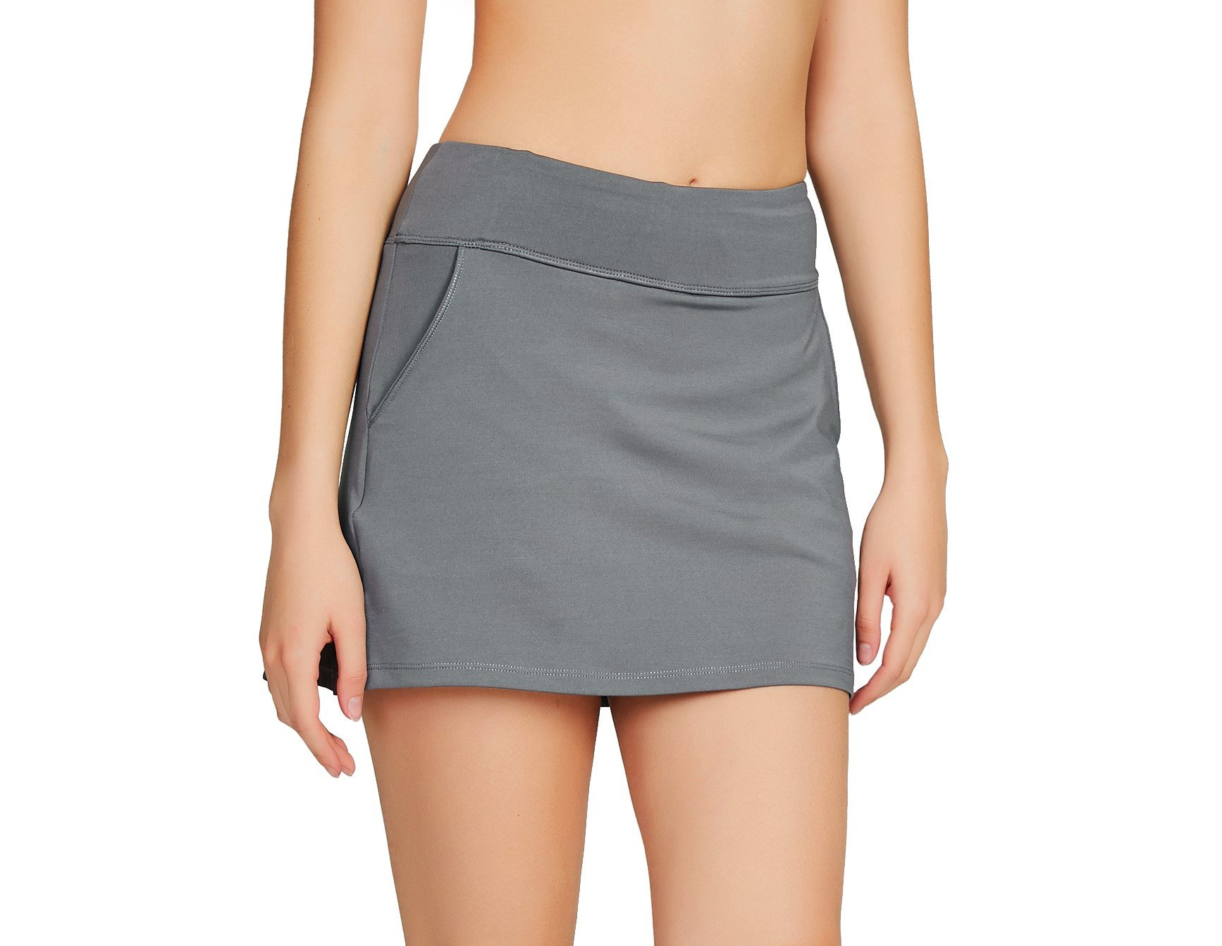 Cityoung Women's Golf Pleated Flat Skort with Pockets L,Grey