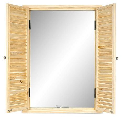 Spiegel mit Fensterladen weiß Wandspiegel mit Türen 35x50 cm Shabby Look