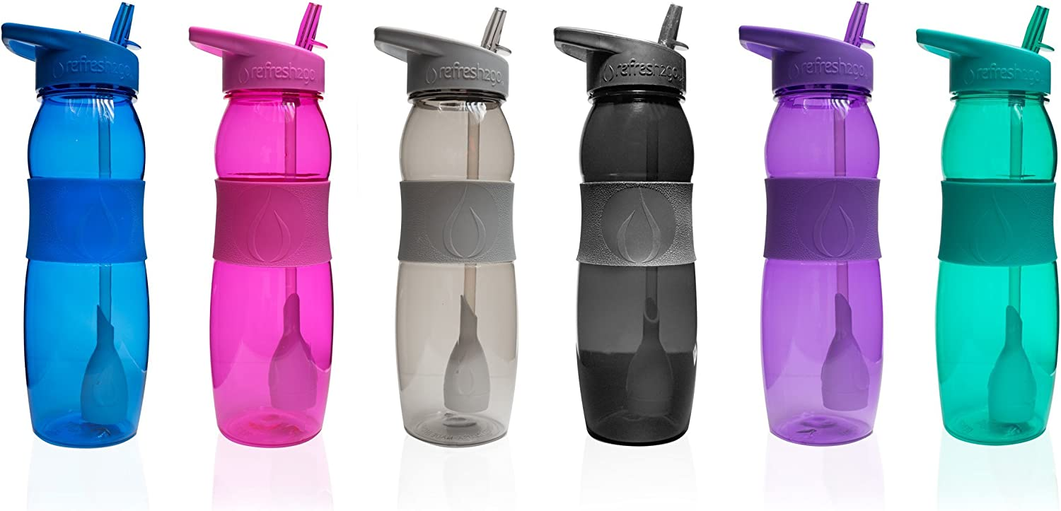 Pink refresh2go 26oz Curve Filtered Water Bottle with Grip