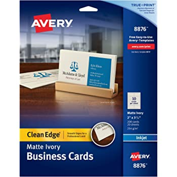 Amazon avery printable business cards laser printers 200 avery printable business cards inkjet printers 200 cards 2 x 35 clean edge heavyweight ivory 8876 flashek Choice Image