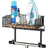 SRIWATANA Ironing Board Hanger Wall Mount, Iron Holder with Large Storage for Laundry Room - Carbonized Black