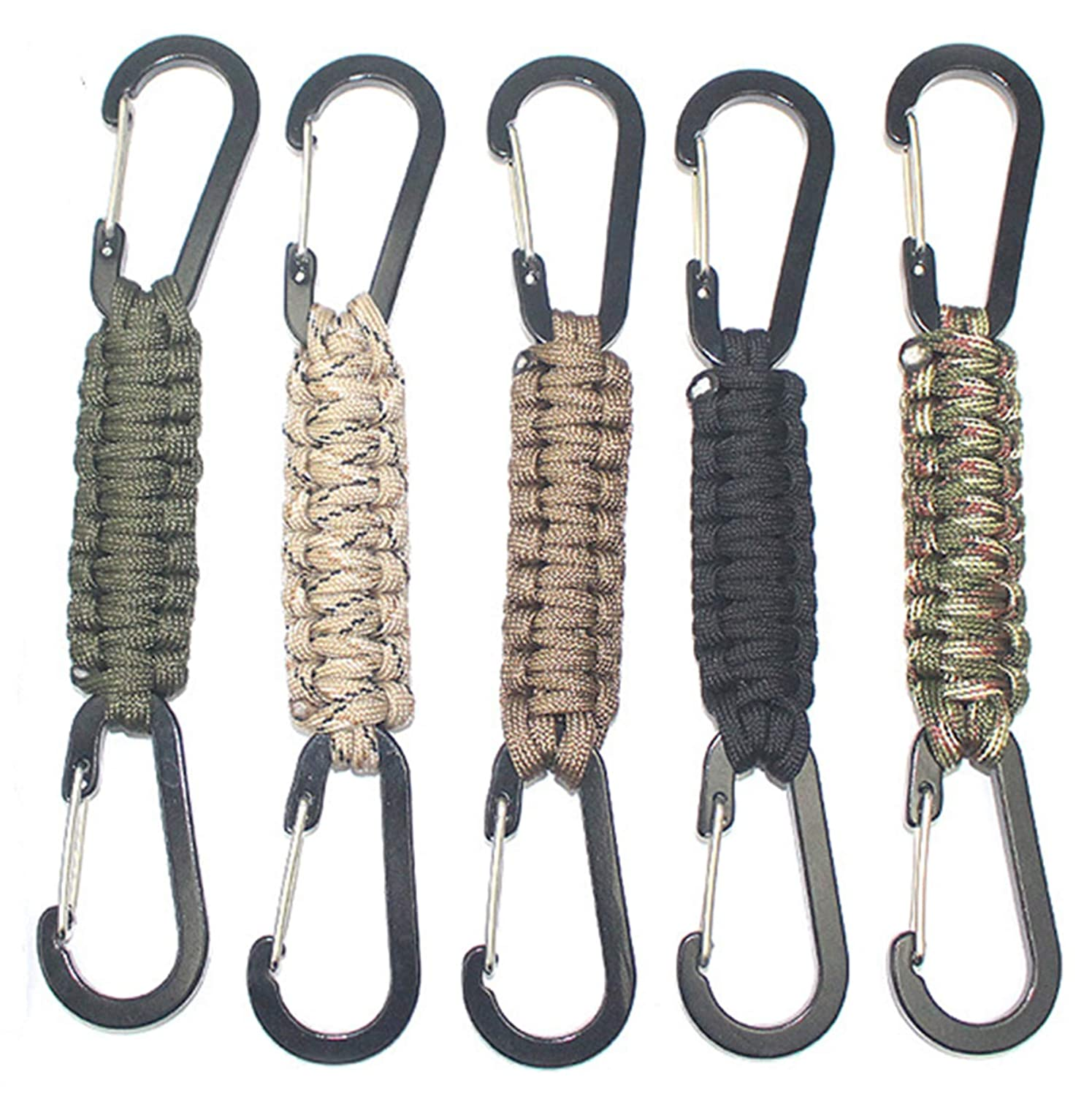 MENG ZHI AO 3 Packs Fence Hooks Outdoor Braided Paracord Carabiner Hanging Hooks Perfect Fence Hook for Water Bottles Bat Bags Tennis Bags,Camping,Hanging Tools Backpack