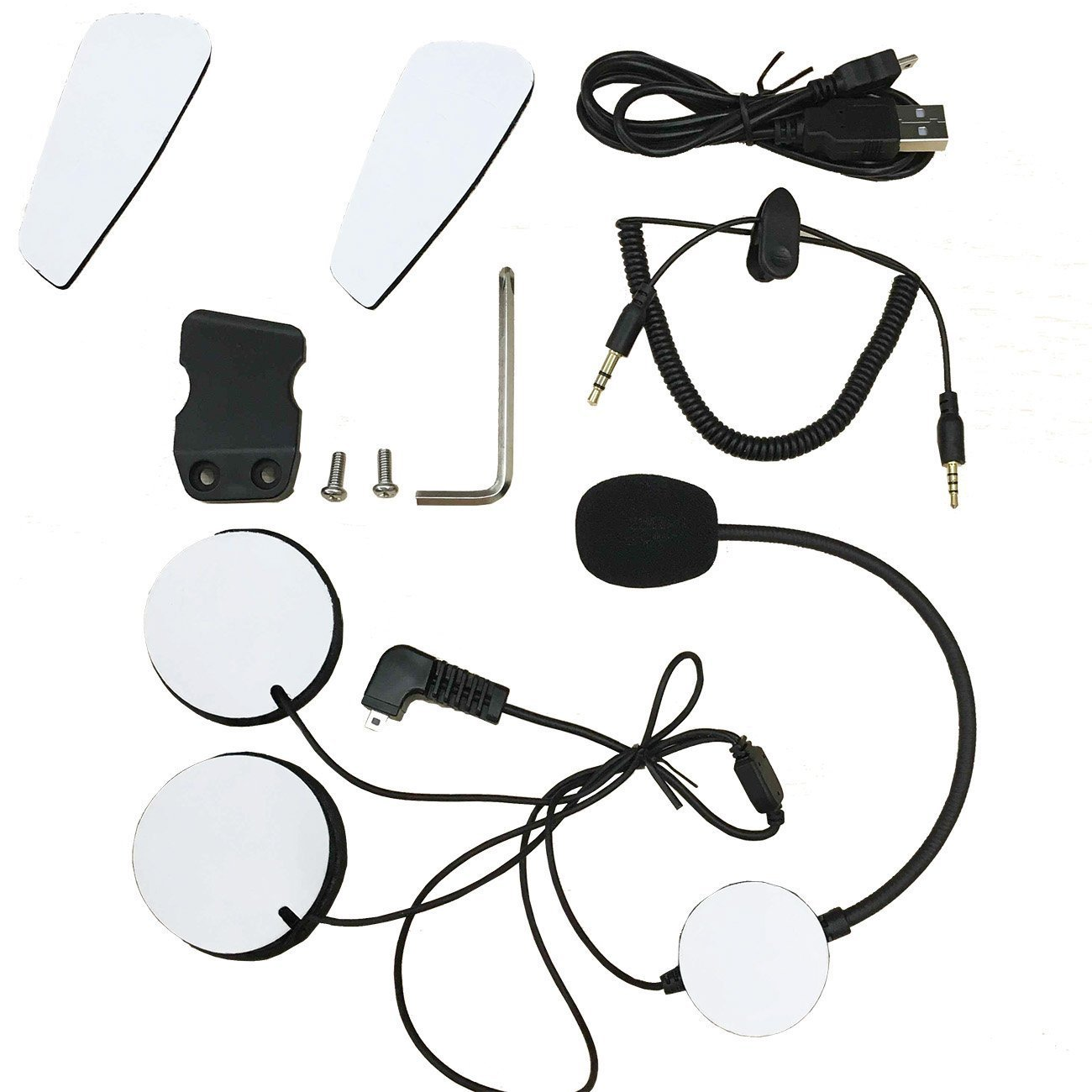 Yideng Motorcycle Intercom Accessories Earphone Microphone Audio Cable Charger Cable Mounting Clip Velcro Kits