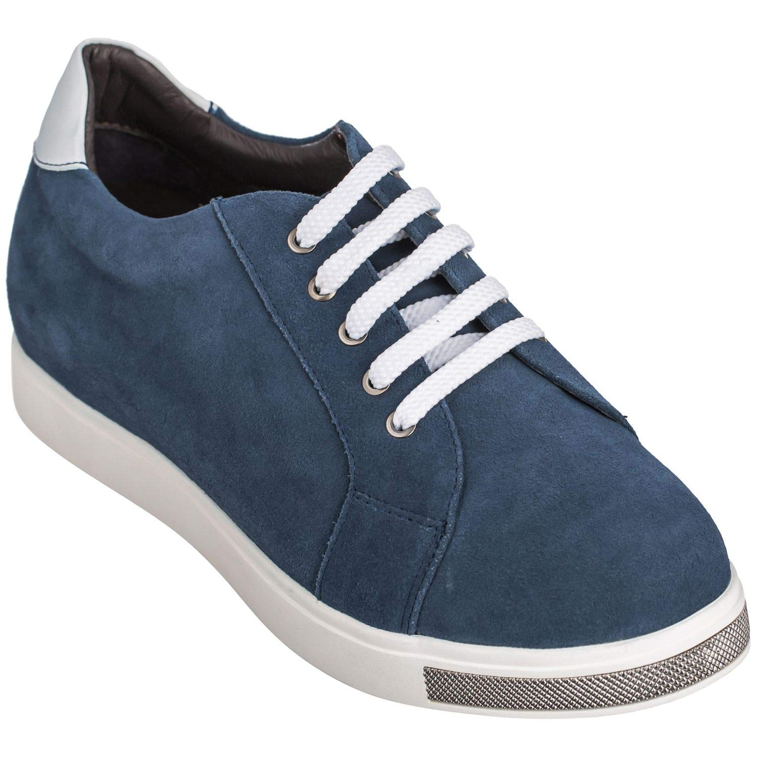 84e5934f46034 CALTO Men's Invisible Height Increasing Elevator Shoes - Blue Suede Lace-up  Casual Fashion Sneakers - 2.4 Inches Taller - Y26191