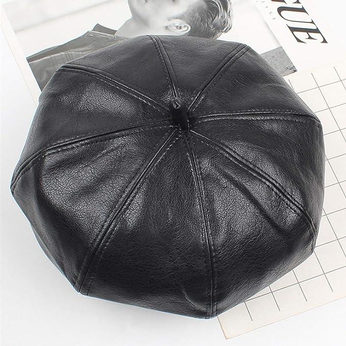 KQYAN Sombrero Mujer Otoño Invierno Cuero Bellet Travel Fashion 8 ...