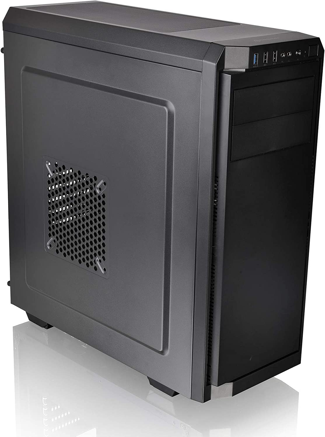 Thermaltake V100A Black ATX Mid Tower Perforated Metal Side and Top Panel Gaming Computer Case with One 120mm Rear Fan Pre-Installed CA-1K7-00M1NN-A0