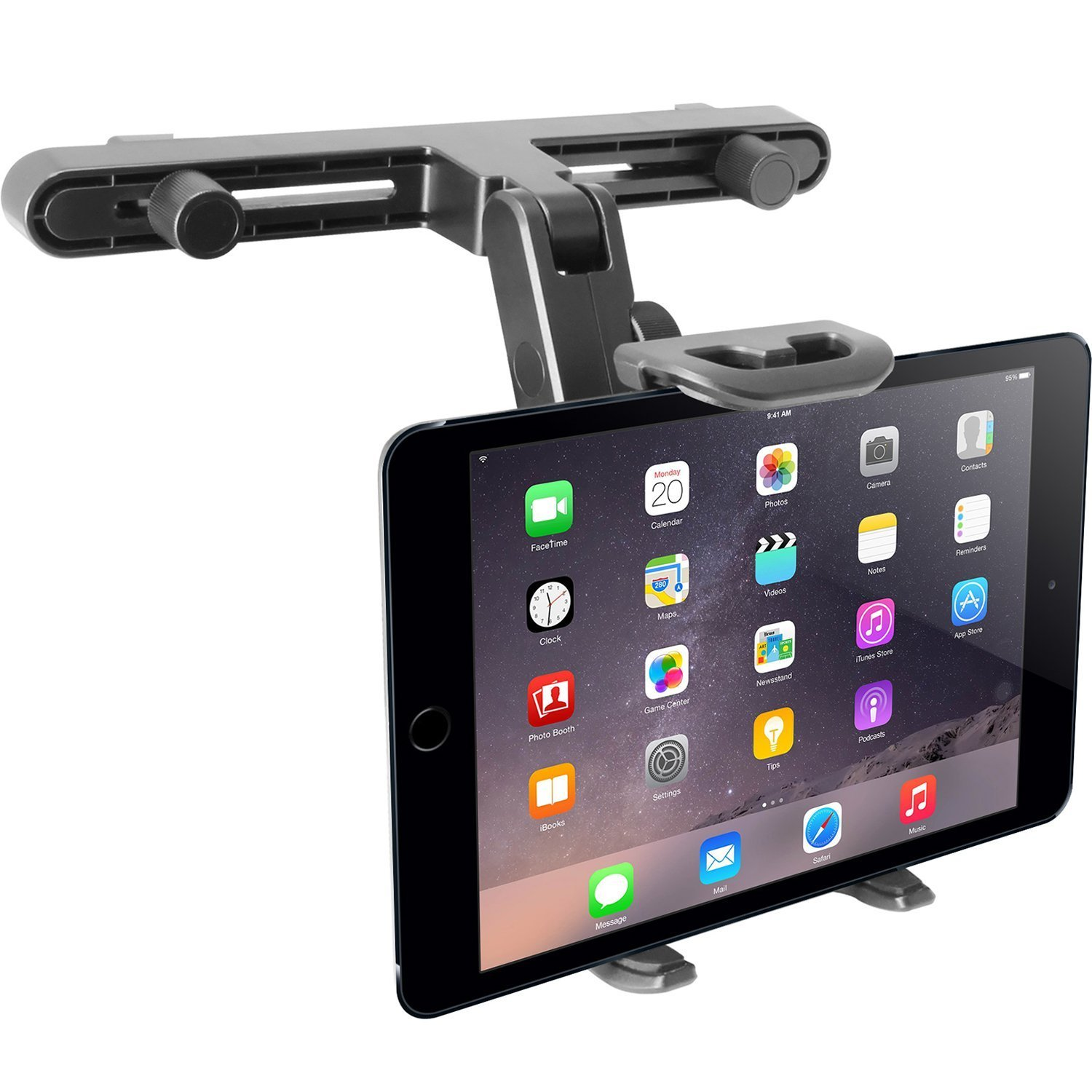 Macally Adjustable Car Seat Headrest Mount and Holder for Apple iPad Air / Mini, Samsung Galaxy Tab, Kindle Fire, Nintendo Switch, and 7'' to 10'' Tablets (HRMOUNT)