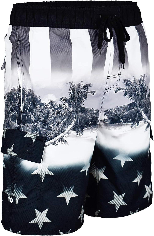 US Apparel Licensed-Mart Men's American Flag Inspired Board Shorts