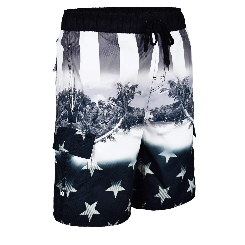 US Apparel Licensed-Mart Mens American Flag Inspired Board Shorts