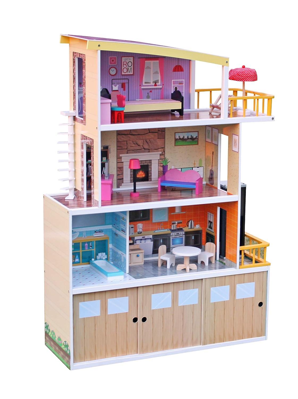 Aga4Kids Puppenhaus Hilary, Puppenhaus, Puppen Set, Holzspielzeug, Holzmöbel, Spielzeug Kinderzimmer