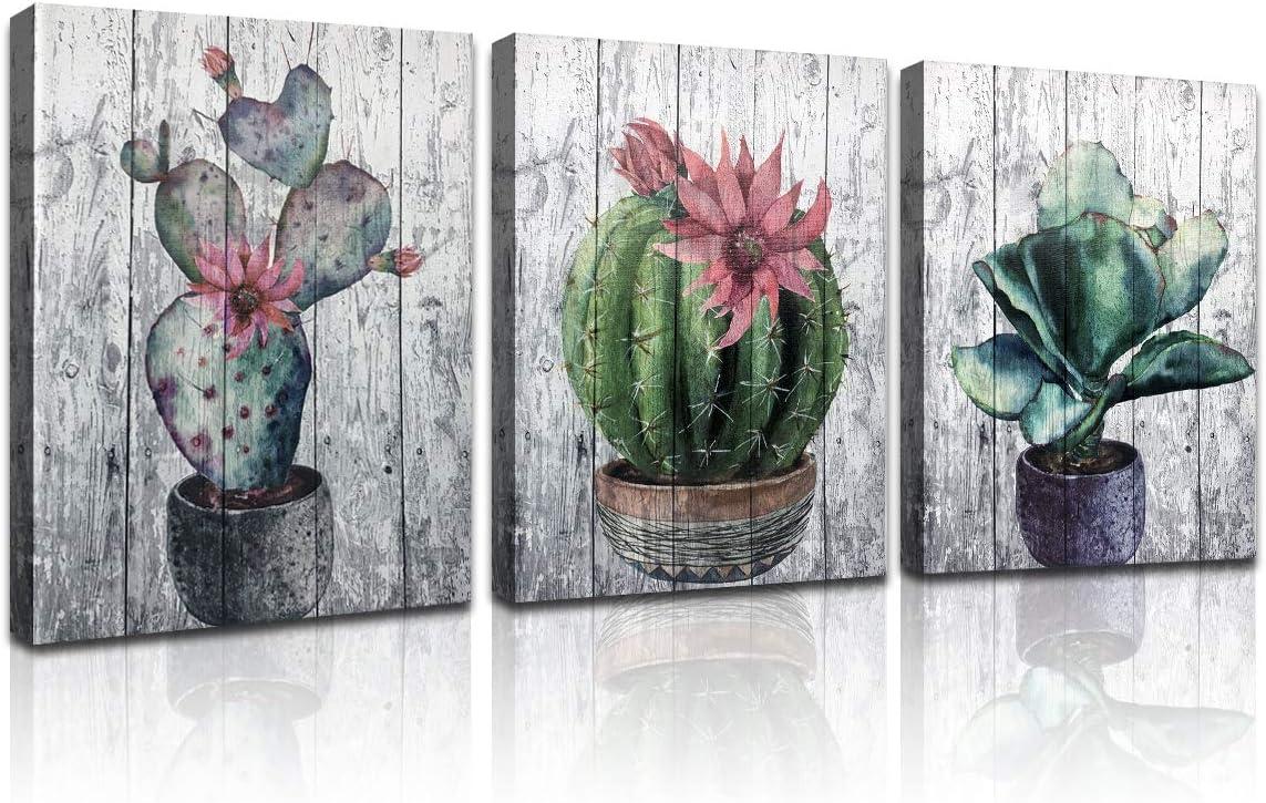 Sosolong Boho Cactus Canvas Wall Decor,Bathroom Decor,Canvas Wall Art for Bathroom (Boho Cactus, 12in16in3)