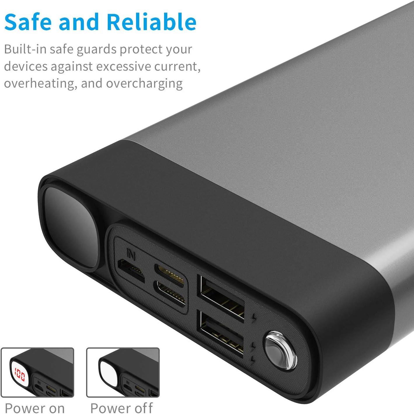 Portable Charger 30000mAh 2USB Ports/Super Bright Flashlight GRAY
