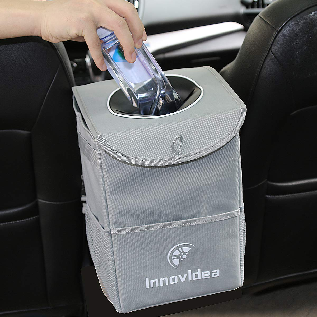 InnovIdea Car Bin, Auto Trash Hanging Bag for Car Storage Organiser, Collapsible Leak Proof Car Rubbish Bin with Lid and Adjustable Strap, Gray(11.5 x 8 x 7.5 inch) With A Roll of Bin Bags