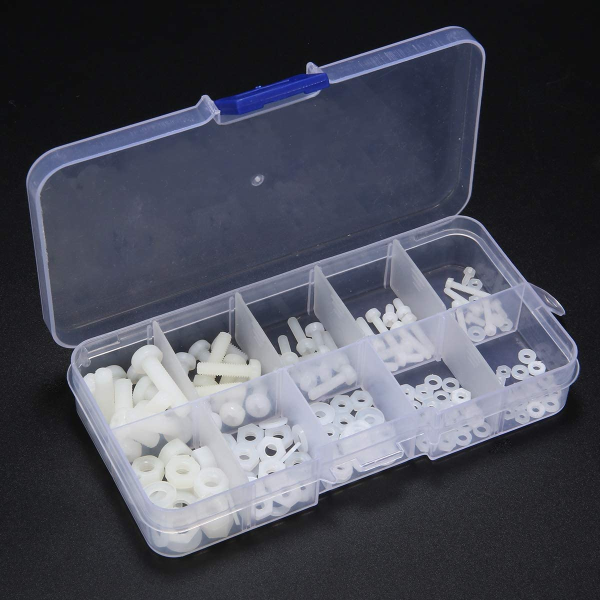 150pcs White Nylon Hex Screw M2 M2.5 M3 M4 M5 Bolt Nut Standoff Spacer Kit with Plastic Box Corrosion Resistant Wang shufang WSF-Adapters