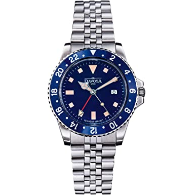 ... Davosa Swiss Made Quartz Quality Watch - Luxury GMT Dual Time Analog Dial Vintage Fashion Watch with Stainless Steel Wrist Band (16350040): Watches