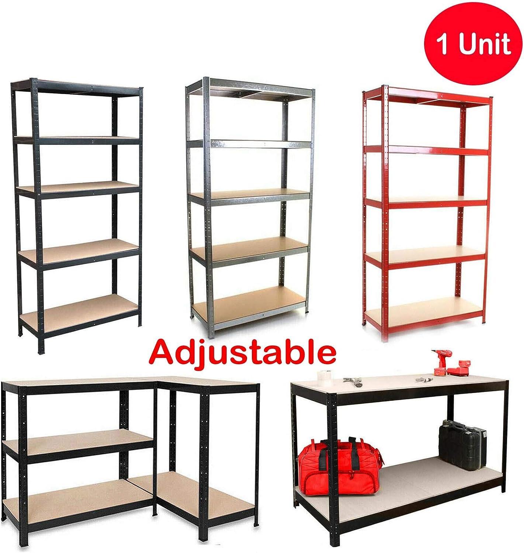 taller almacenamiento extra profundo sin tornillos Estanter/ía industrial de 5 estantes resistente para garaje con marco de metal