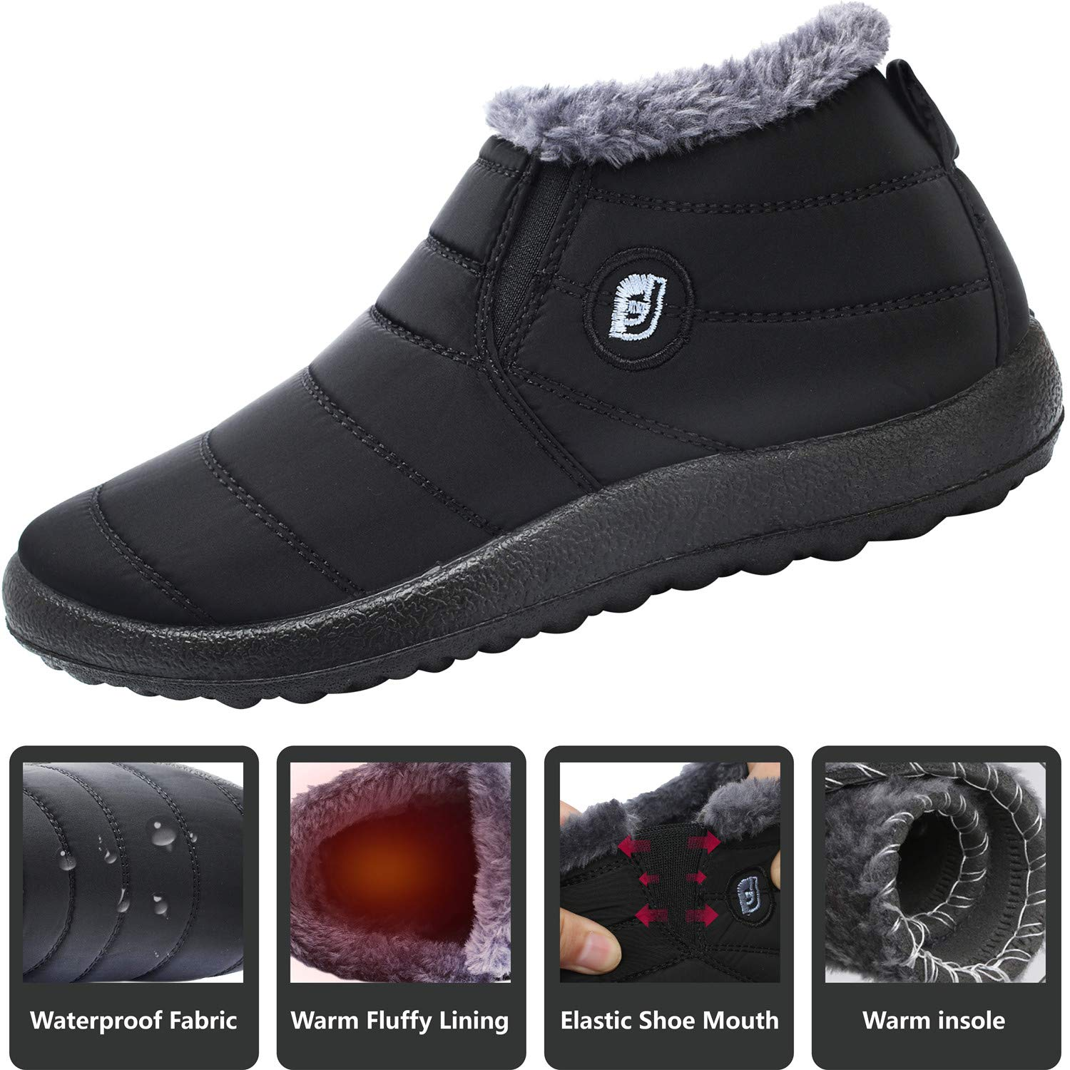 JOINFREE Womens Waterproof Snow Boots Fur Lining Slip On with Rubber Soles Black 8.5 B(M) US by JOINFREE (Image #3)