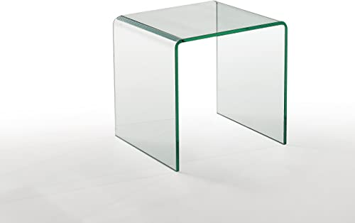 Neos Modern Furniture ET2002C Contemporary Glass Living Room End Table, 18 , Clear