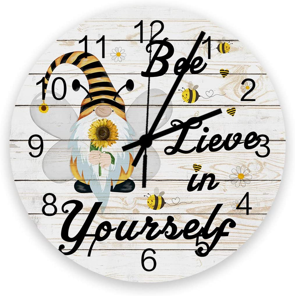 """Anmevor 12"""" Round Wooden Wall Clock, Gnomes Bee Yellow Black Stripe Daisy Wood Grain Silent Non Ticking Quartz Battery Operated Wall Decorative Clock for Living Room Bedroom"""