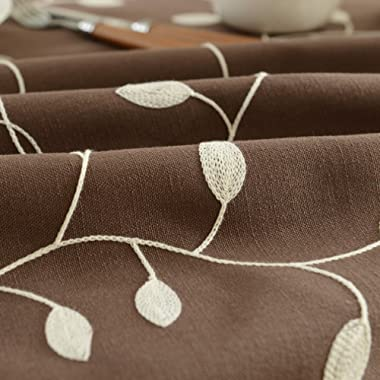 Tina Cotton Linen Leaf Embroidered 20x20  Cloth Napkin Set of 6 for Dinner Everyday Use, Coffee