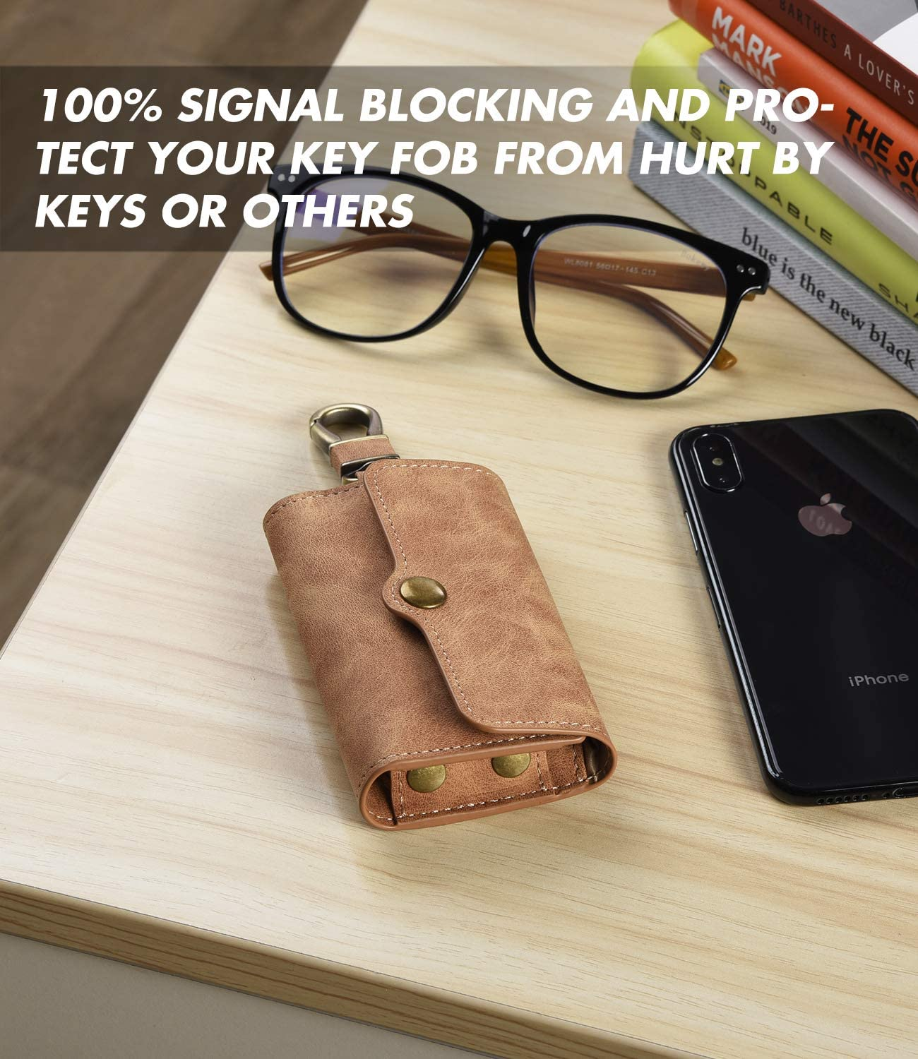 Faraday Bags for Car Key Fob Protector Signal Blocker and Keys Chain Handmade Multifunction Brown PU Leather Key Holder Bag with Strong Metal Hook