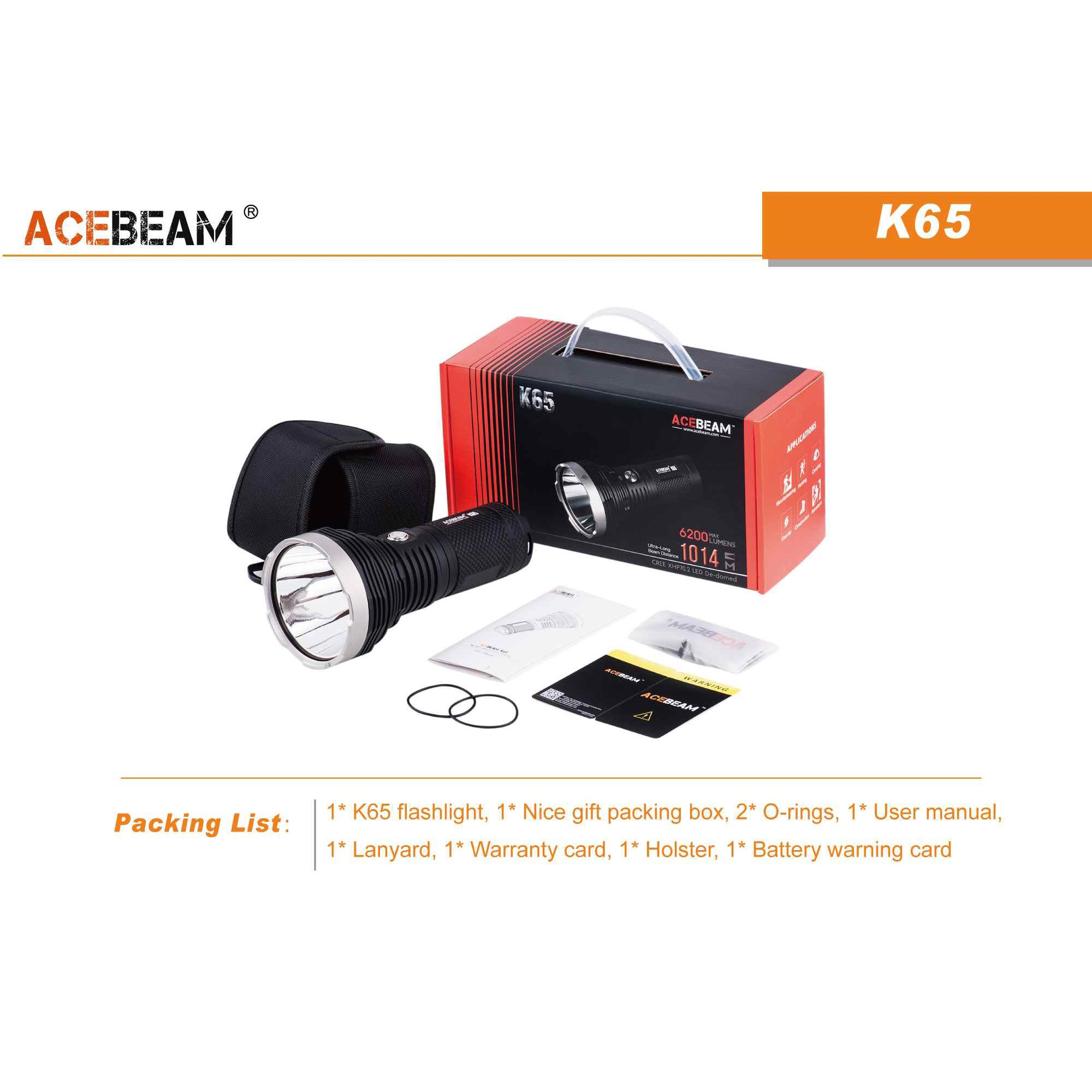 ACEBEAM K65 Flashlight CREE XHP70.2 De-Domed LED Searchlight with Max 6300 lumens Throw 1014M(6500K) by ACEBEAM (Image #7)