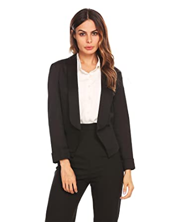 90bc368a7f2 Image Unavailable. Image not available for. Color  Seewebest Women s Open Front  Slim Fit Short Casual Work Office Blazer Cardigan Jacket