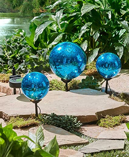 The Lakeside Collection Set Of 3 Solar Gazing Ball Stakes