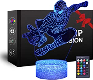 Spiderman 3D Night Light, XXMANX Baby Night Light with 7 Colors Changing Touch Remote Control Bedroom Decorative Light for Boys Girls Kids (Spiderman)