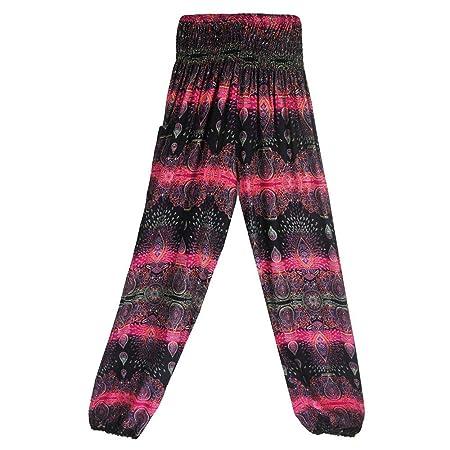 Memefood-mujer pantalones Harem Boho de Cintura alforzada ...