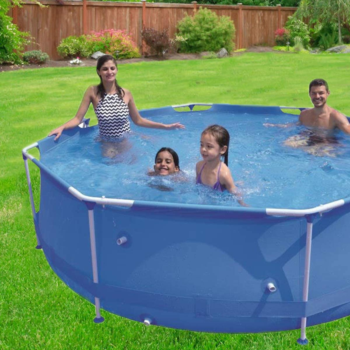 Easy Set for Backyard Summer Water Party Swimming Pool Above Ground Kids Adults 10ftx3oin 12ft x 30in Outdoor Metal Frame Pool with Piston for Kiddie