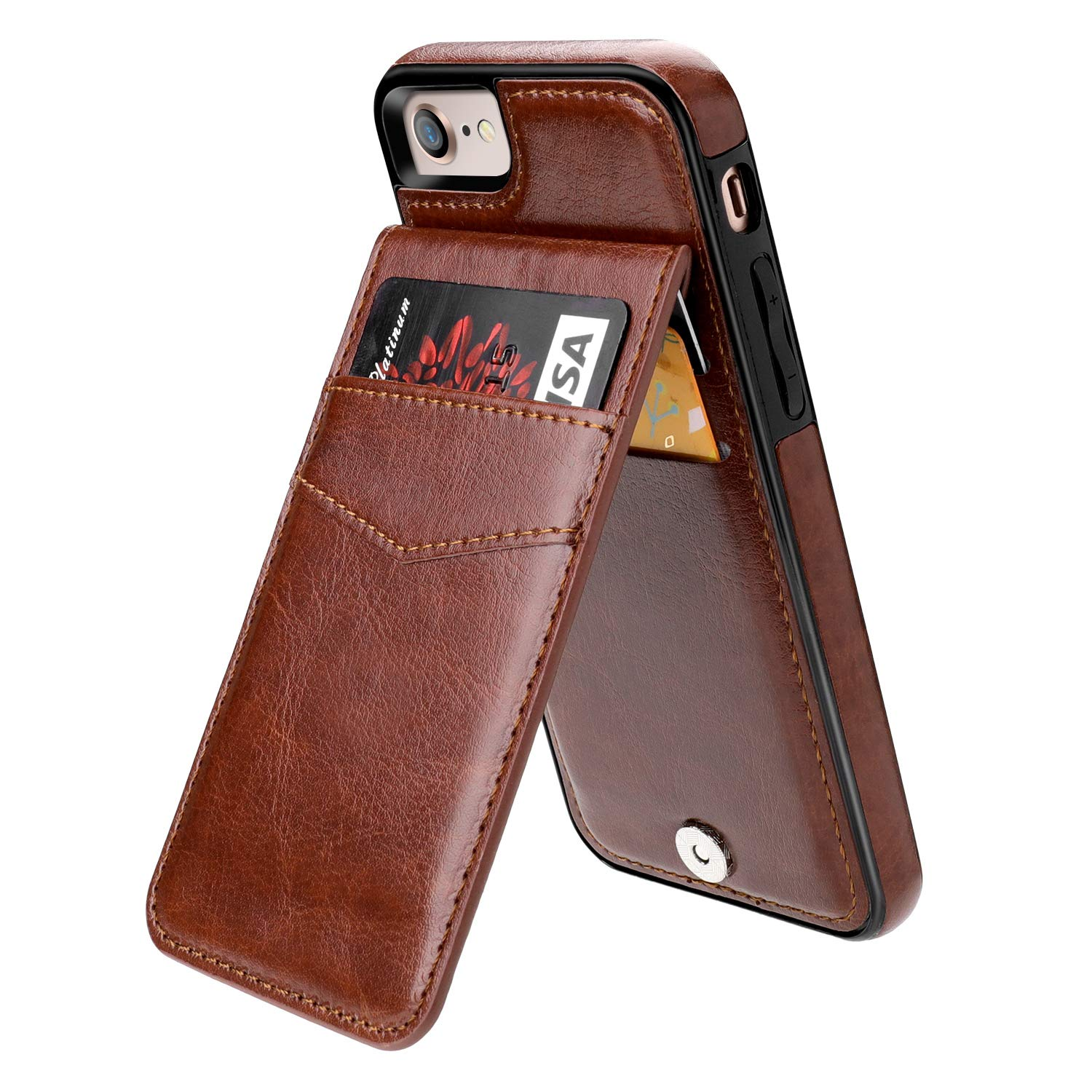 iPhone 7 iPhone 8 Case Wallet with Credit Card Holder, KIHUWEY Premium Leather Magnetic Clasp Kickstand Heavy Duty Protective Cover for iPhone 7/8 4.7 Inch(Brown) by KIHUWEY