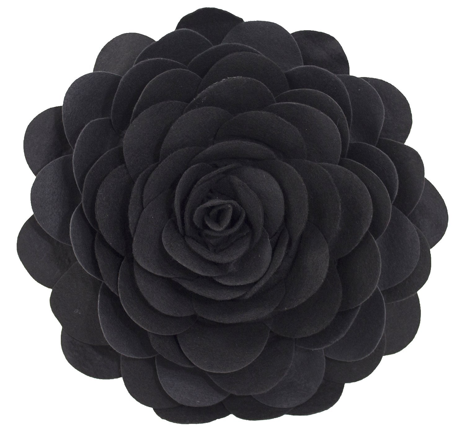 Eva's Flower Garden Decorative Throw Pillow With Insert - 13 inch Round (Black-Case Only)