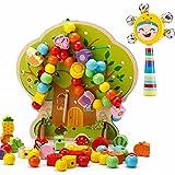 ひもとおし 紐通しおもちゃ ハンドベル・収納袋付き カラフル 木製パズル 感覚教育 指先訓練 Bajoy 子どもの思考力を高める知育玩具 入園祝い 子供用 女の子 男の子 誕生日 クリスマス プレゼント