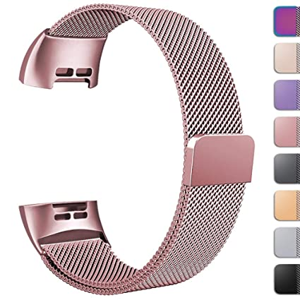 GEAK Replacement Compatible Fitbit Charge 3 Bands /Charge3 SE Metal Bands  for Women Men, Premium Stainless Steel Loop with Magnetic Lock Accessories