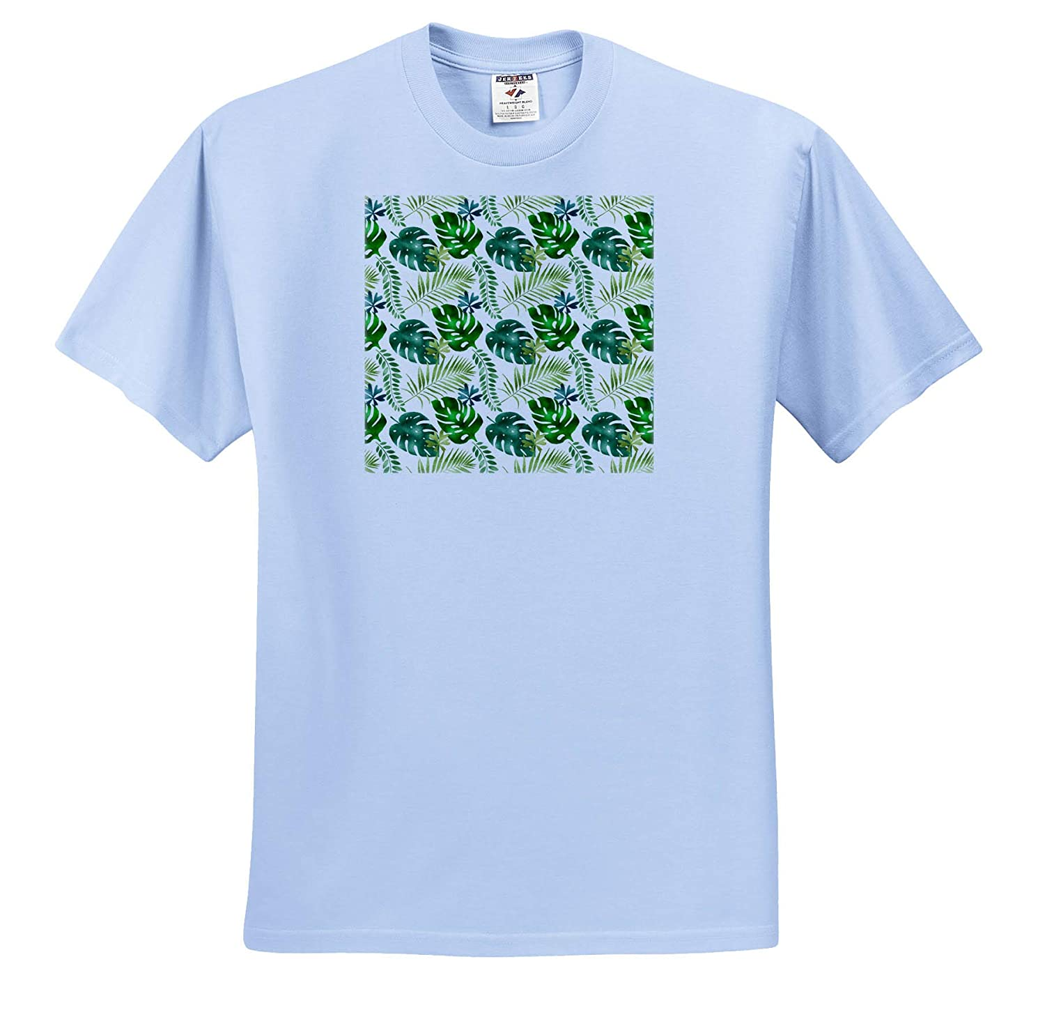 Patterns 3dRose Anne Marie Baugh T-Shirts Chic Green Tropical Leaves Pattern