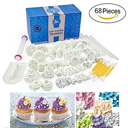 68pcs Fondant Cake Decorating Tools Plunger Cutters Accessories Set DIY Home  Kitchen Plastic Baking Making Sugarcraft