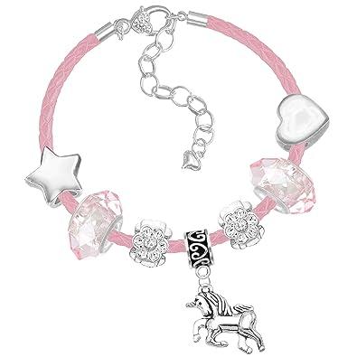 ea1c2acbe Pink Leather Unicorn Charm Bracelet with Greeting Card Gift Box Set (1.  Light Pink Crystal Beads): Amazon.co.uk: Jewellery